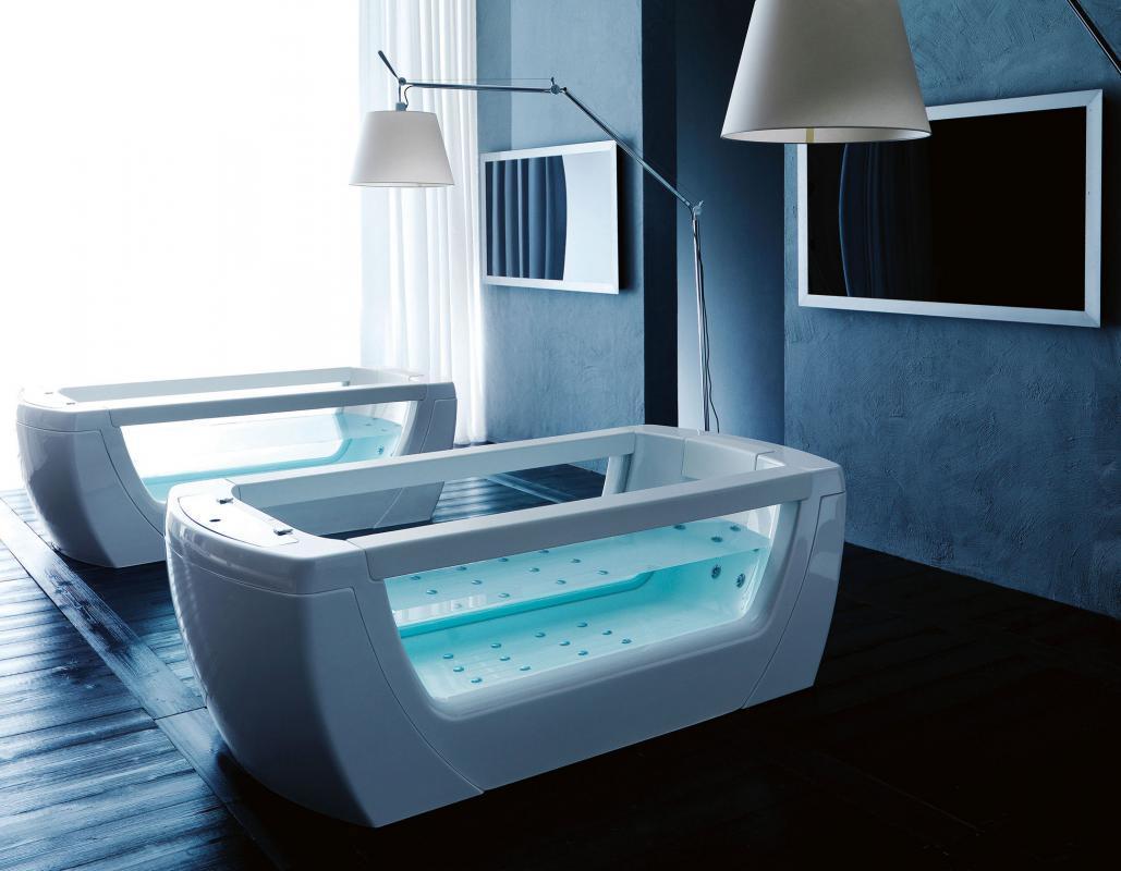 Необычный дизайн ванной комнаты в стиле хай-тек