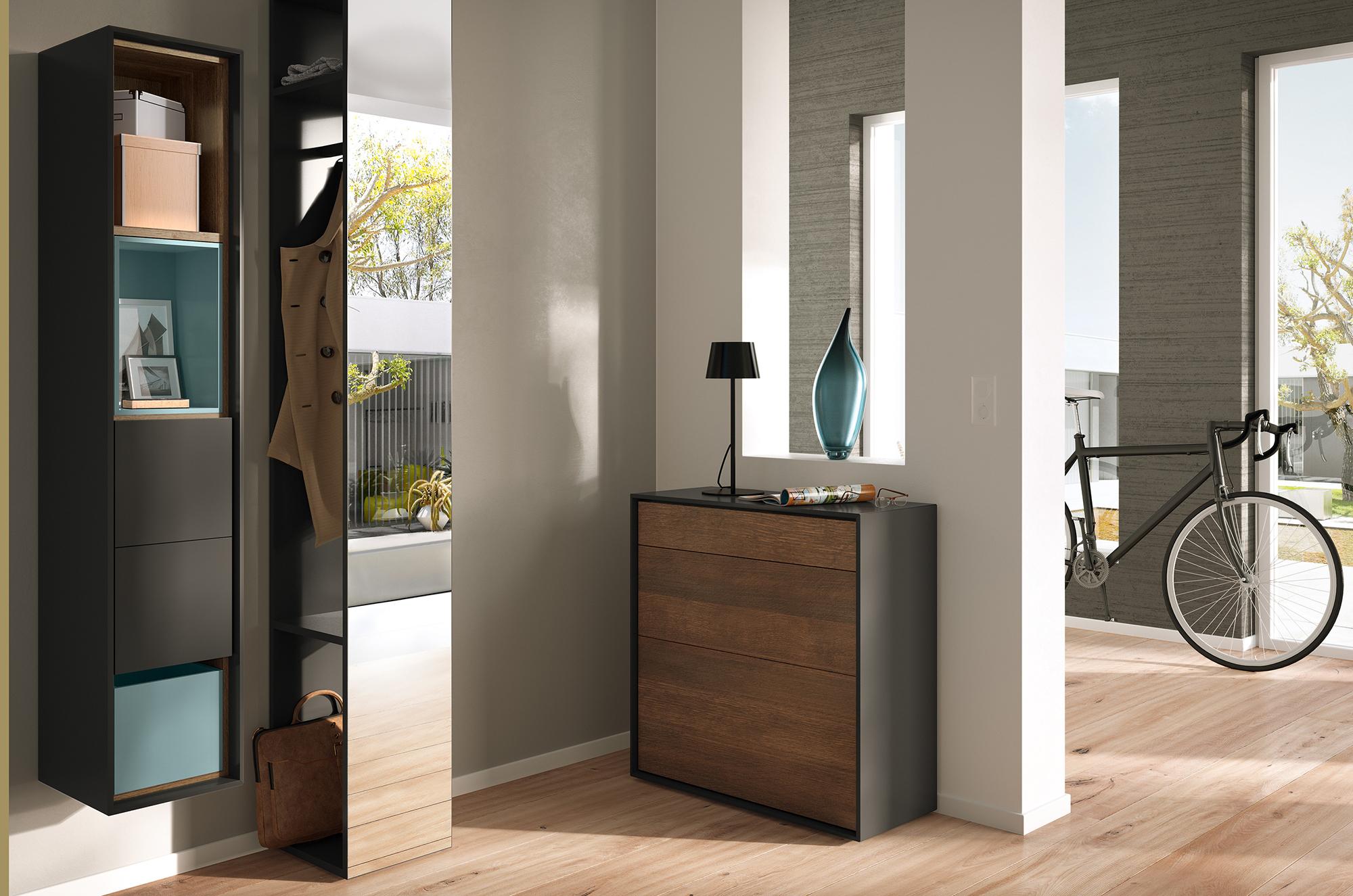 Черно-коричневая мебель в прихожей в стиле хай-тек