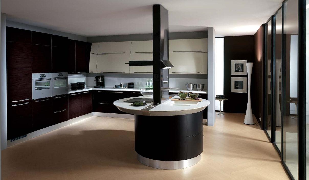 Круглый остров в кухне в стиле хай-тек