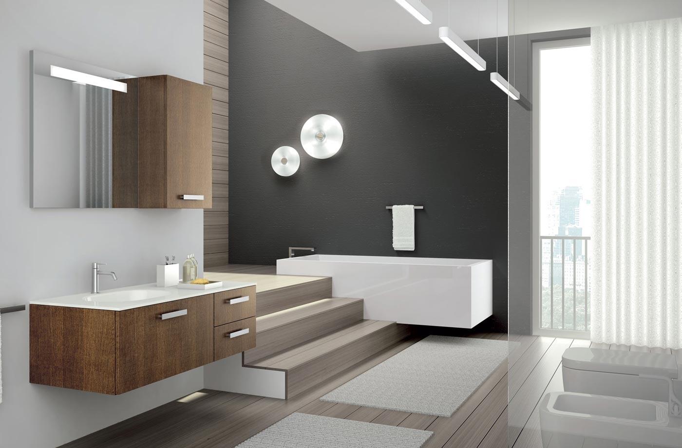 Коричнево-белая мебель в ванной в стиле хай-тек