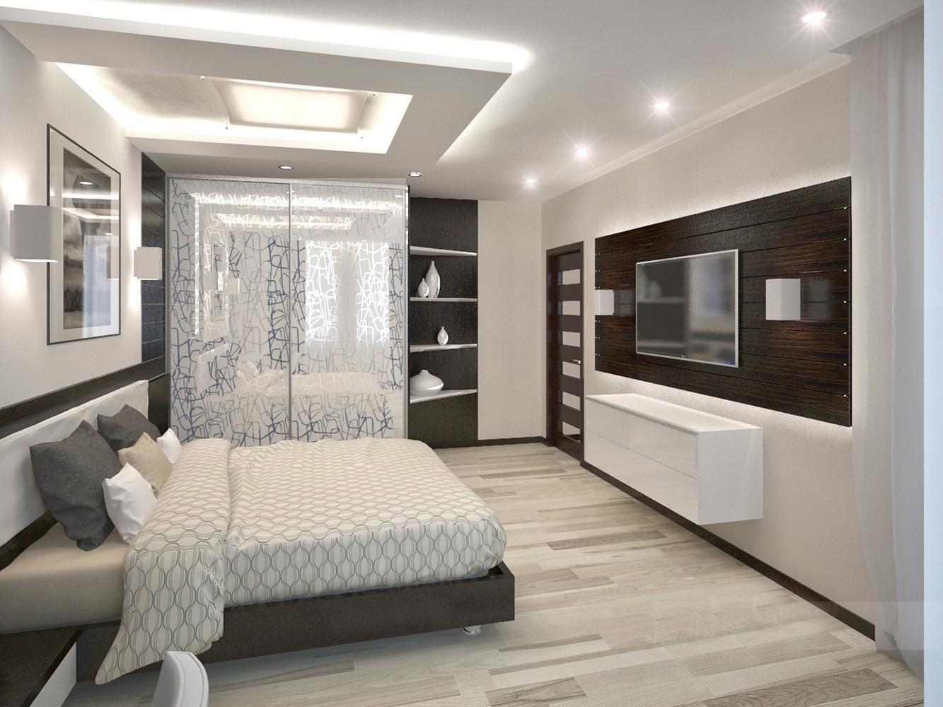 Серая кровать и белый комод в спальне в стиле хай-тек