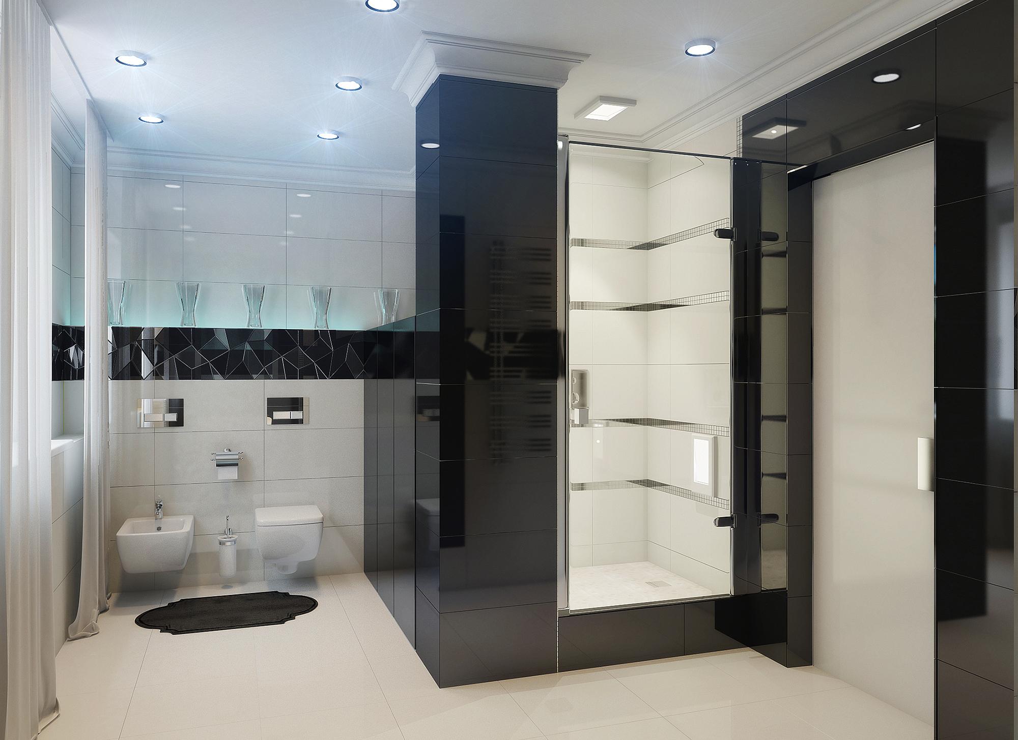 Черно-белая ванная стиле хай-тек