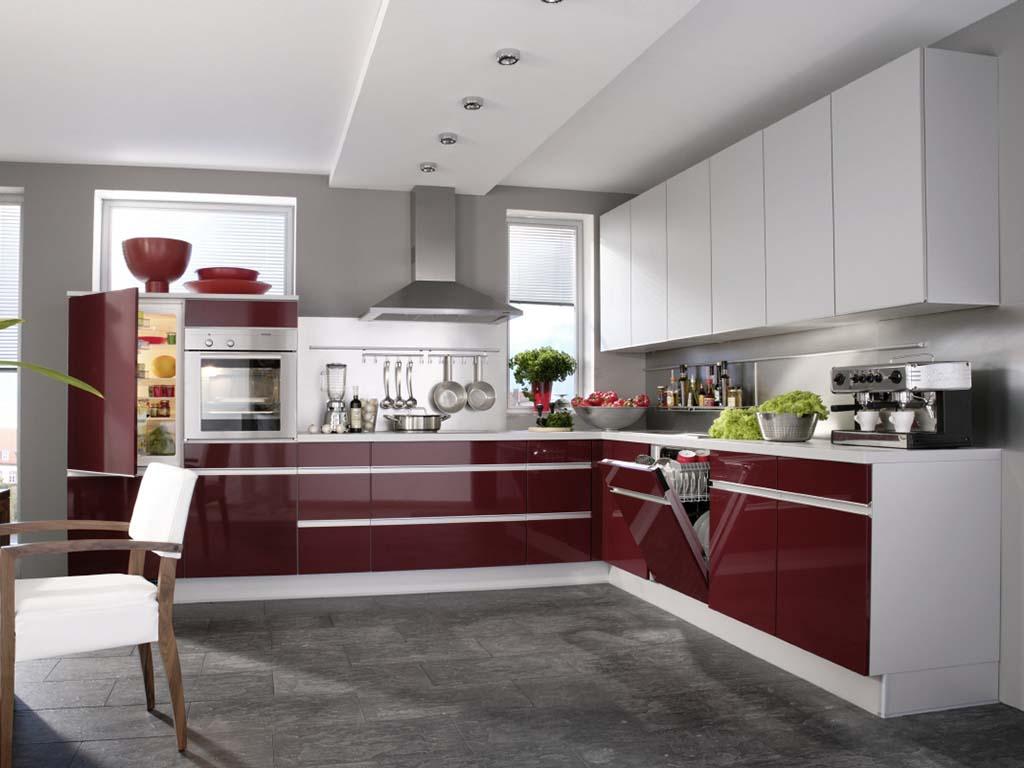 Бордово-белый кухонный гарнитур в стиле хай-тек