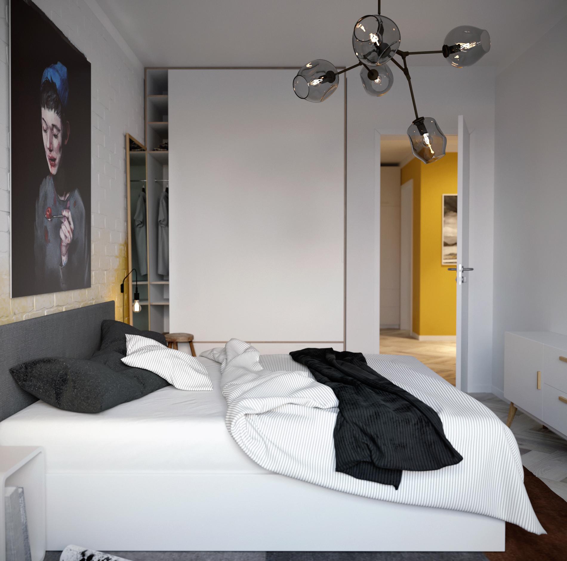 Дизайн спальни 18 кв м монохромный