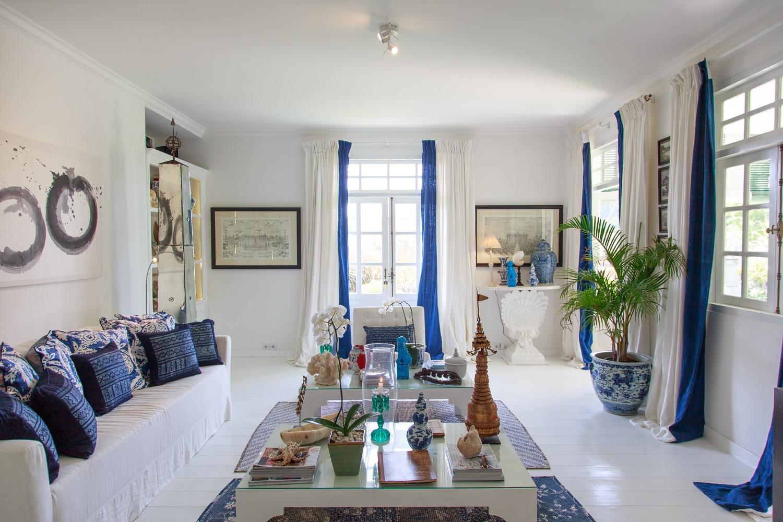 Голубая гостиная в морском стиле