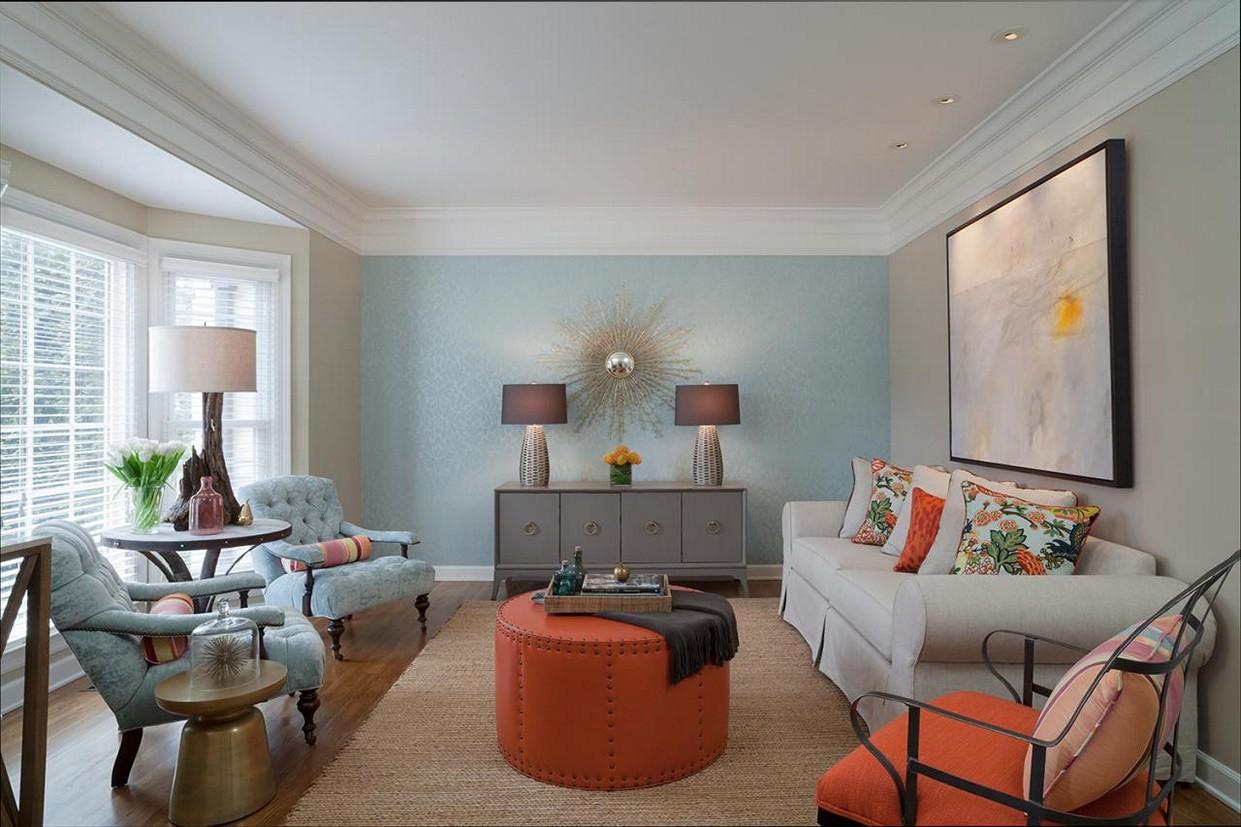 Голубая гостиная в стиле неоклассики
