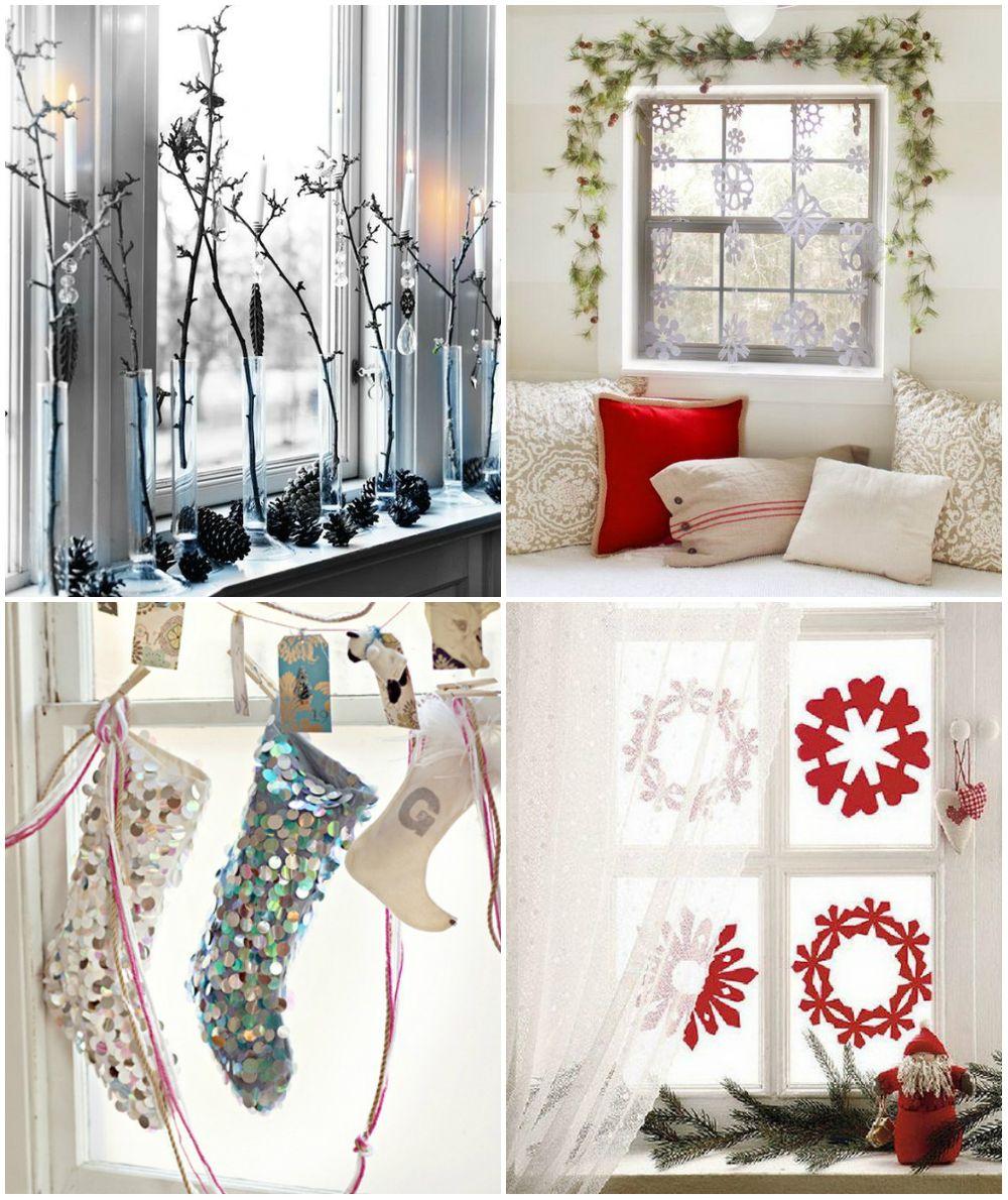 Варианты декорирования окна на Новый год