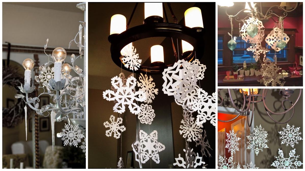 Новогодние люстры, украшенные снежинками