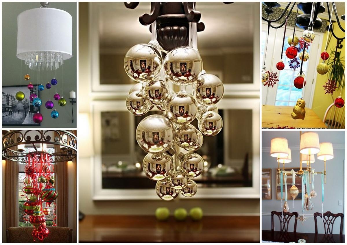 Новогодние люстры, украшенные шарами