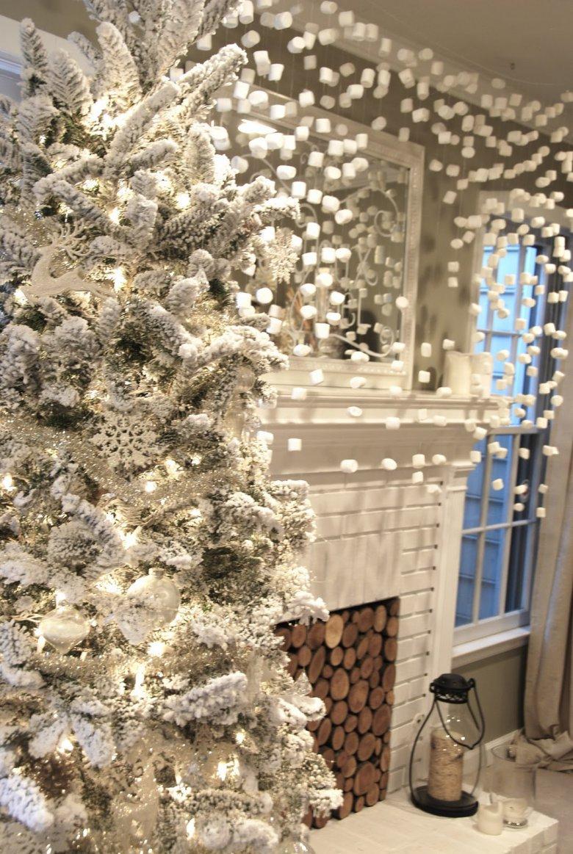 Белый декор для елки и интерьера
