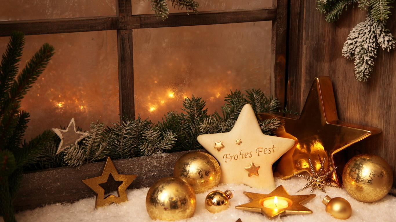 Красивое новогоднее оформление окна