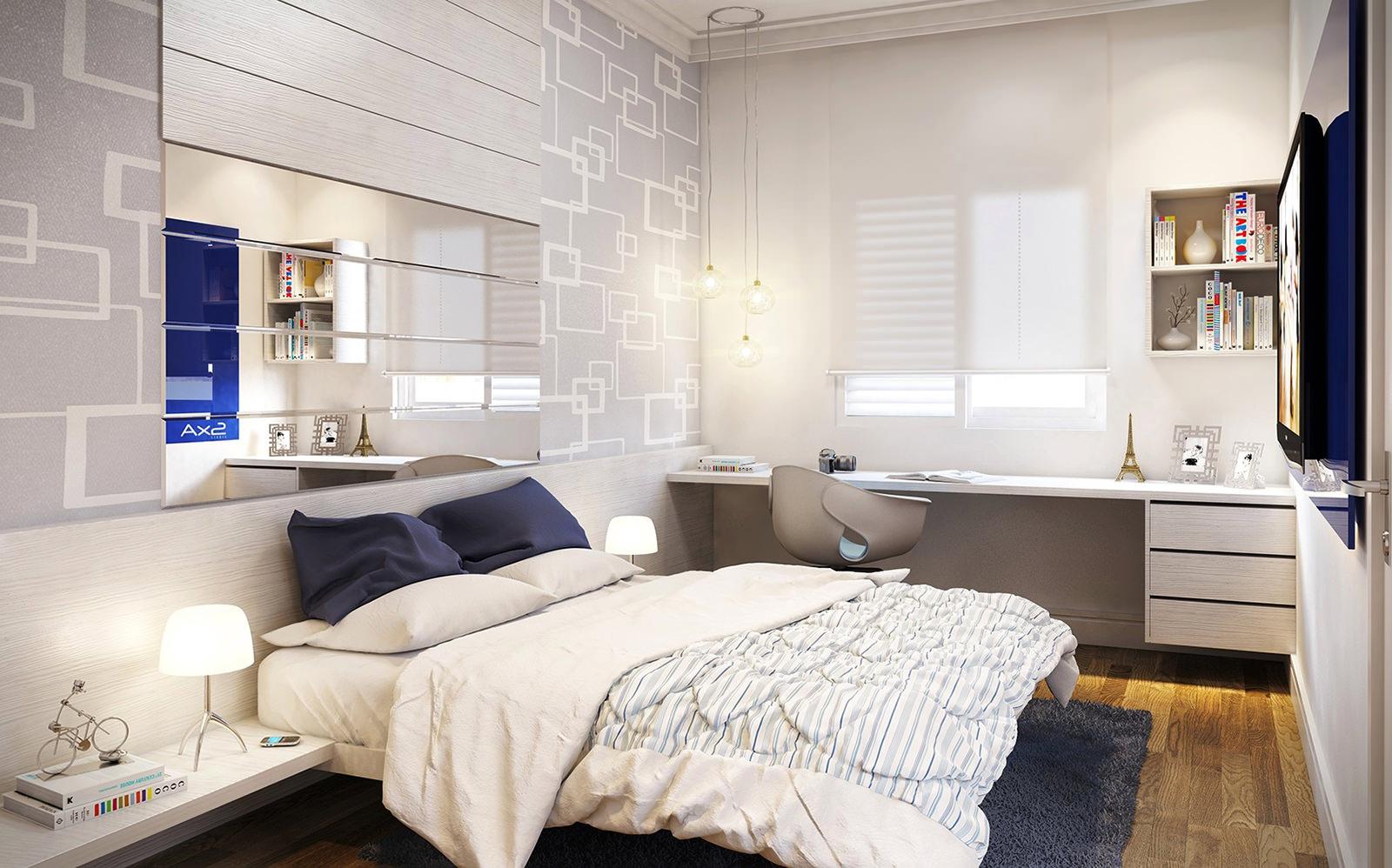 Зеркальная панель над изголовьем кровати