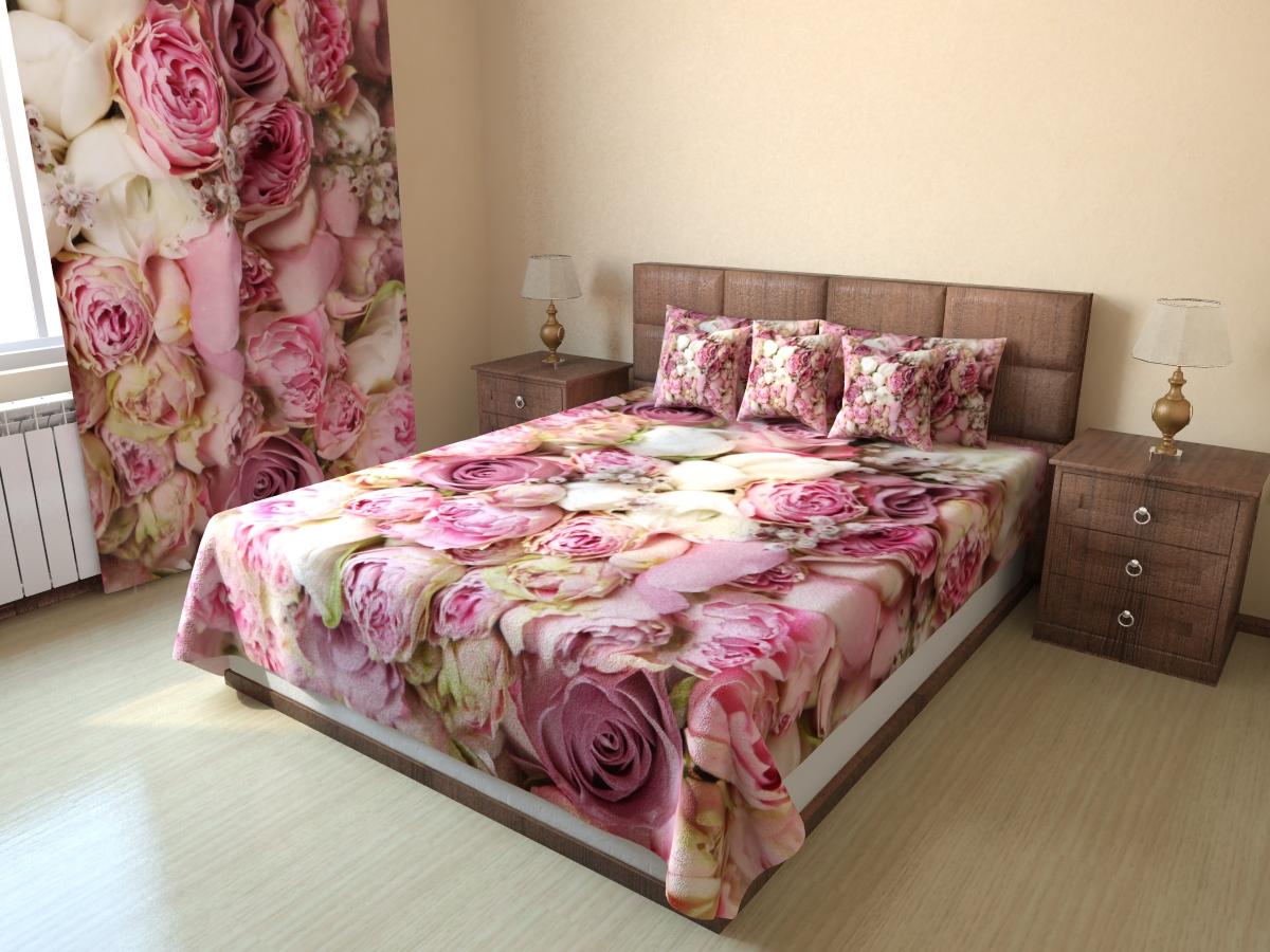 Цветочное покрывало в оформлении кровати