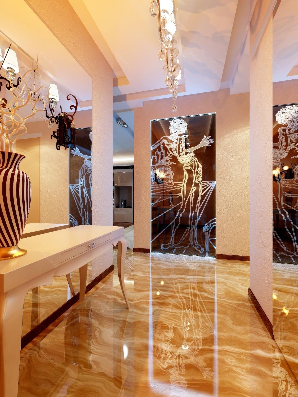 Глянцевый пол и зеркала в узкой прихожей