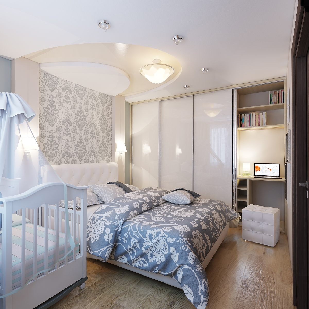 Бело-коричневая современная спальня
