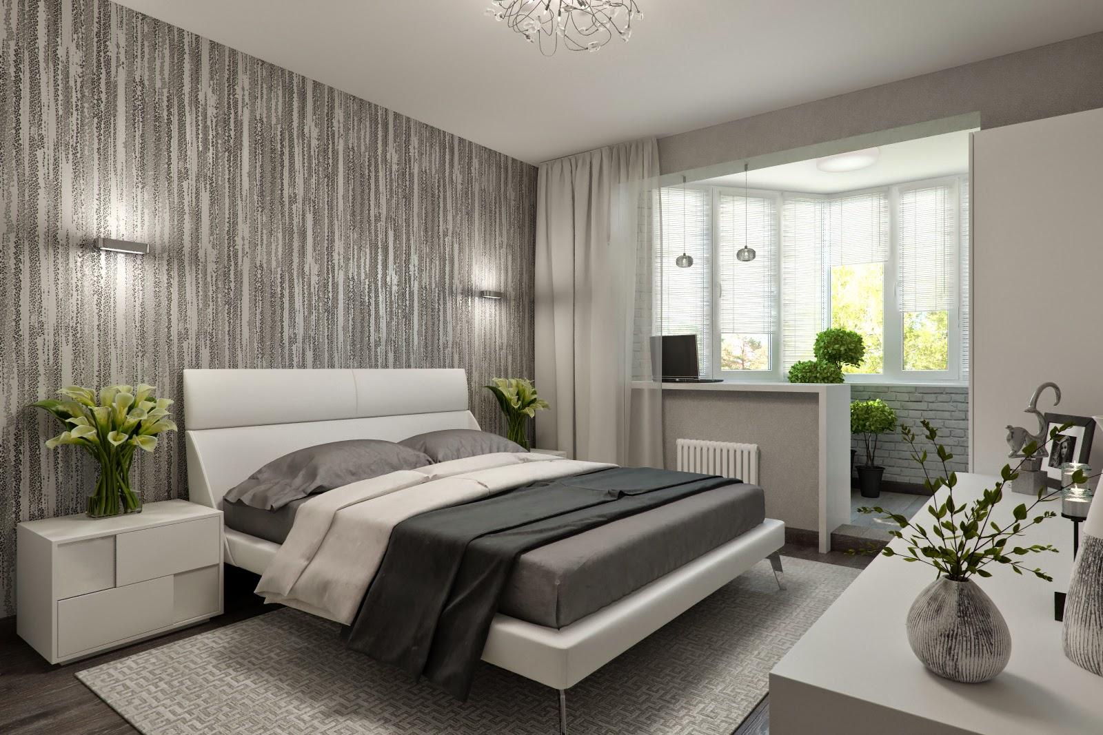 Серо-белая спальня, совмещенная с балконом