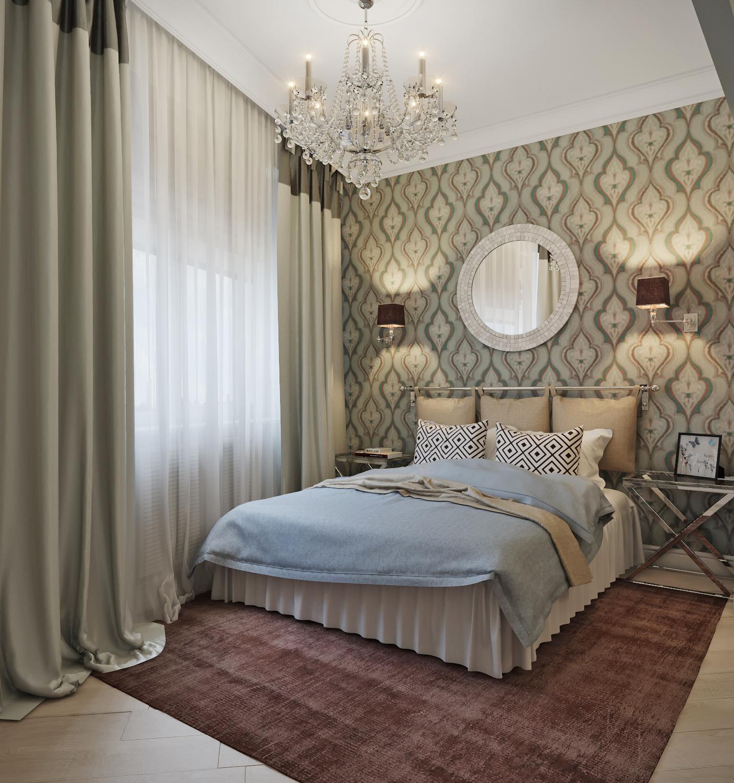Стильные люстры, шторы, столики для спальни