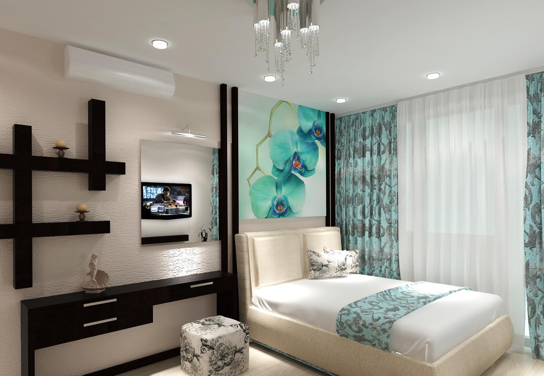 Изображение орхидеи в интерьере спальни