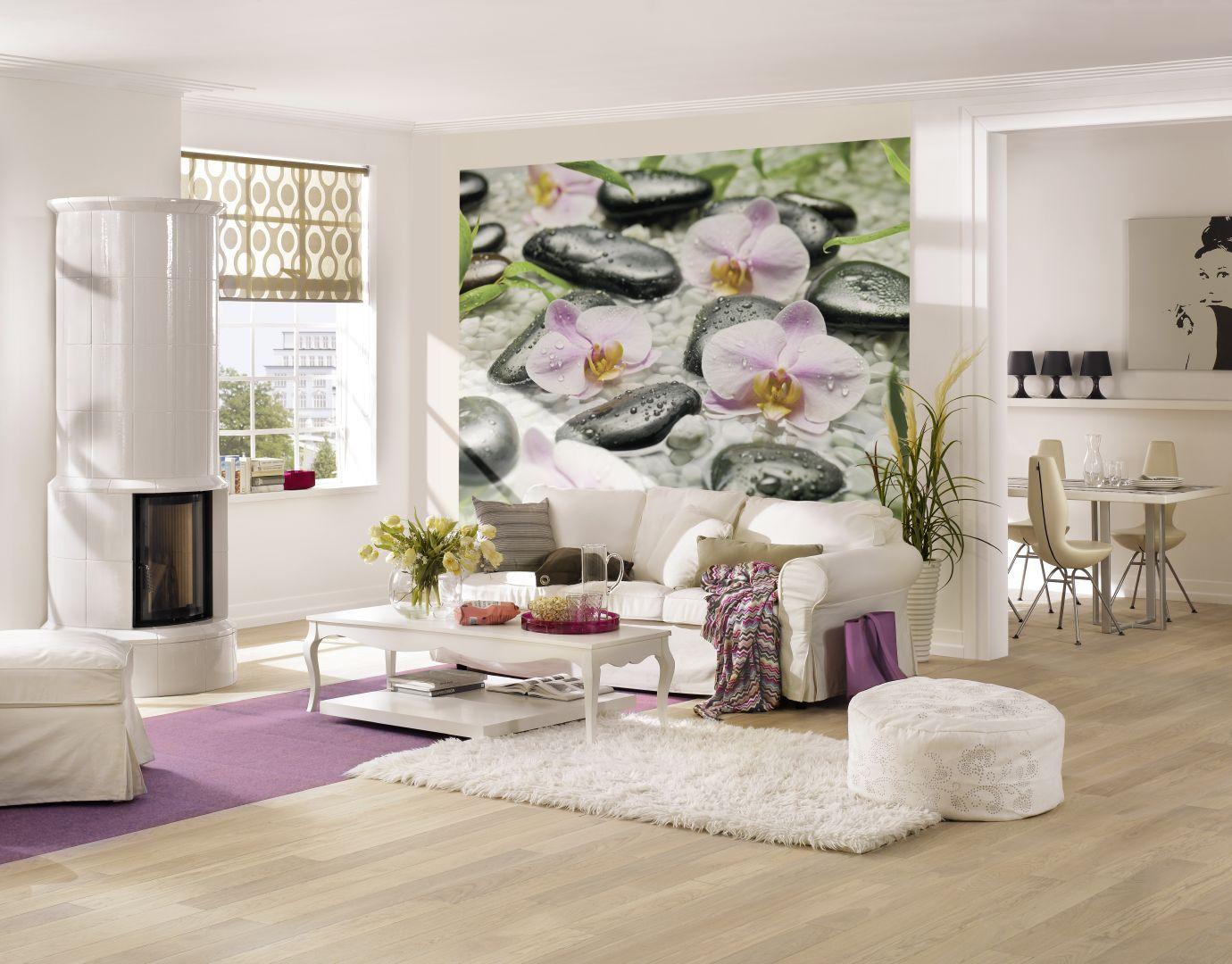 Фотообои с орхидеями в гостиной