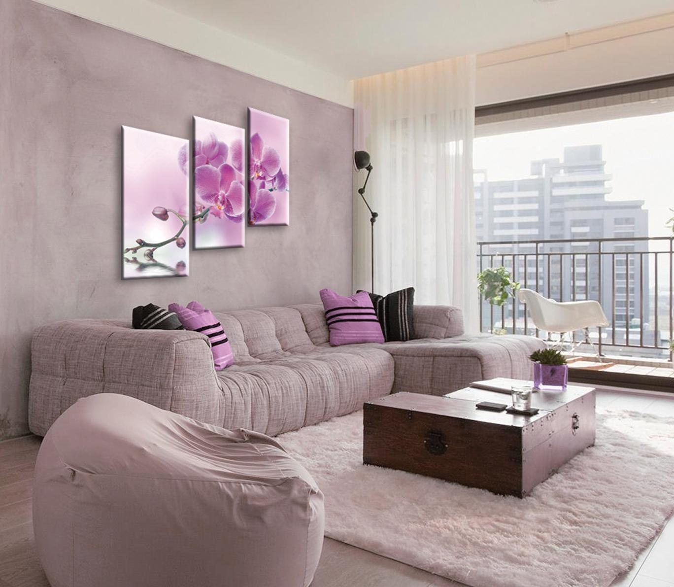 Модульная картина с орхидеями в гостиной