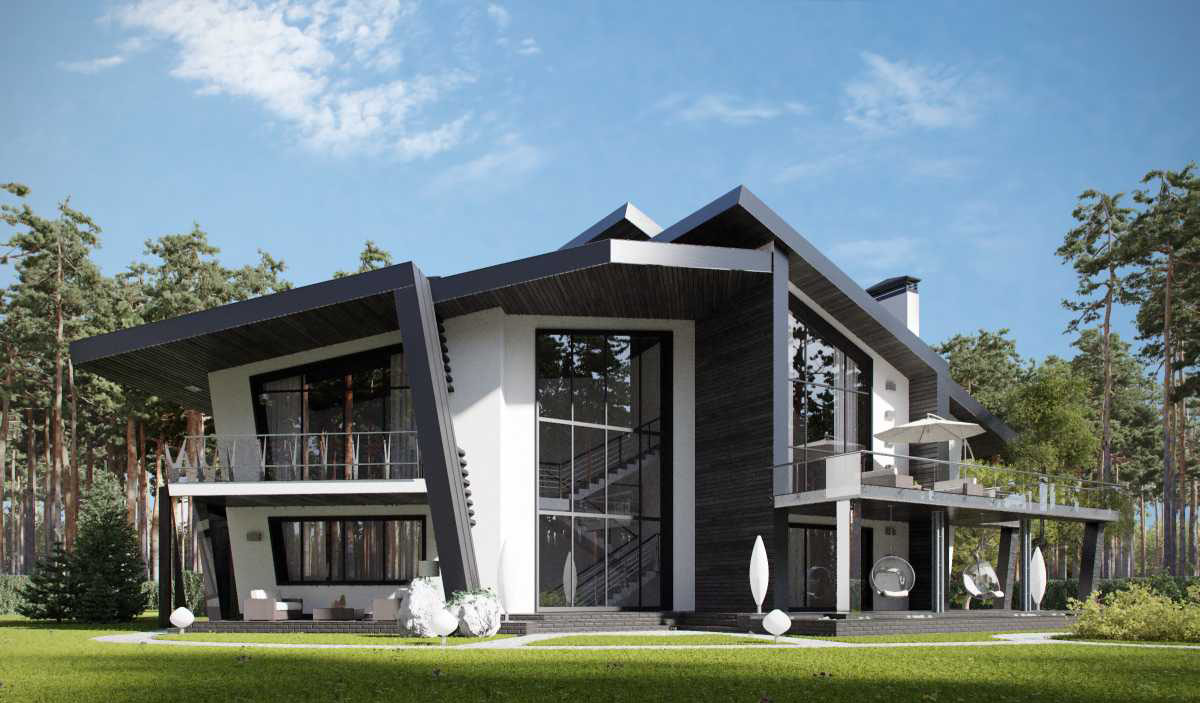 Оригинальное остекление современного дома