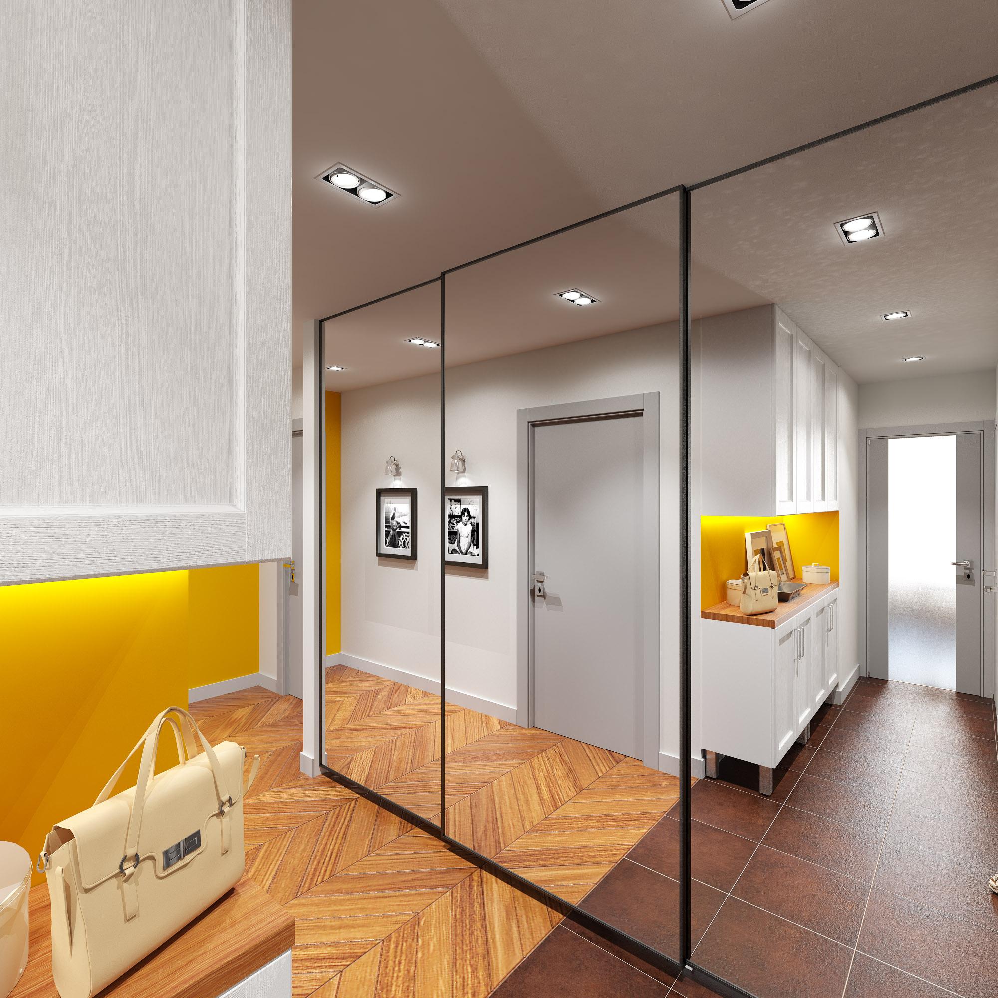 Точечные двойные и одинарные светильники в коридоре с большим зеркальным шкафом