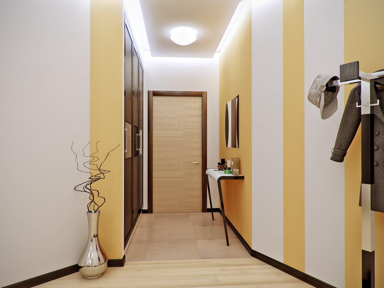 Большая лампа и подсветка по периметру потолка в бело-желтой прихожей