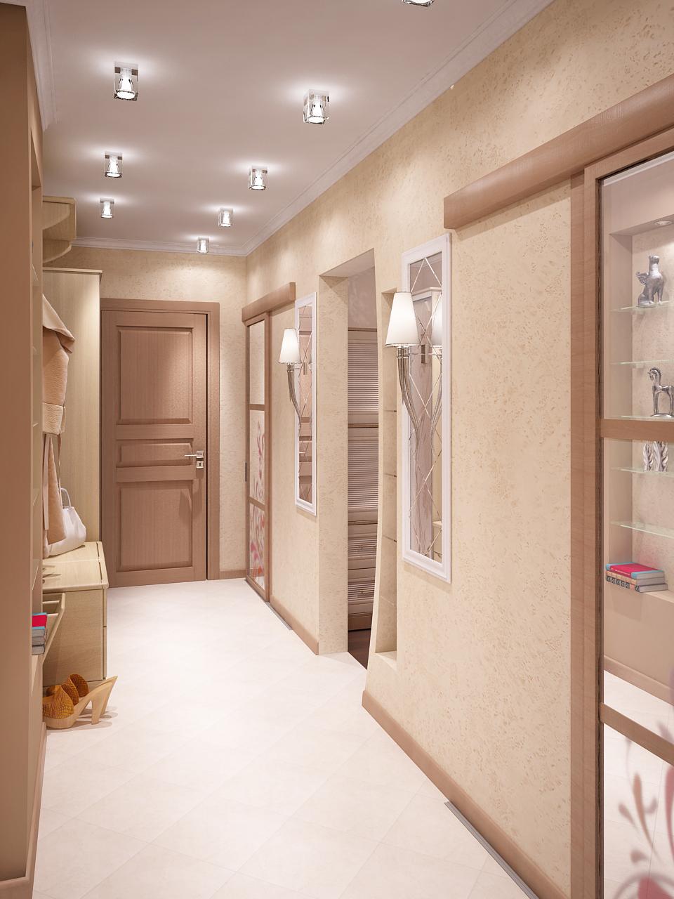 Точечные стеклянные светильники и настенные бра в коридоре