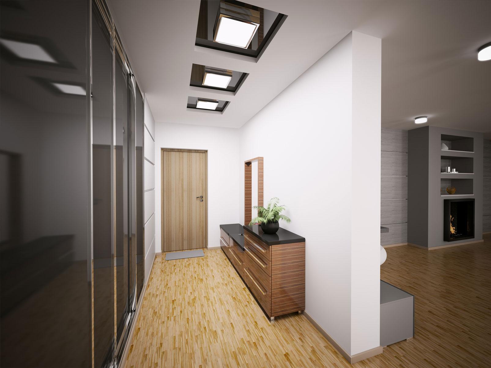 Квадратные встроенные светильники в коридоре