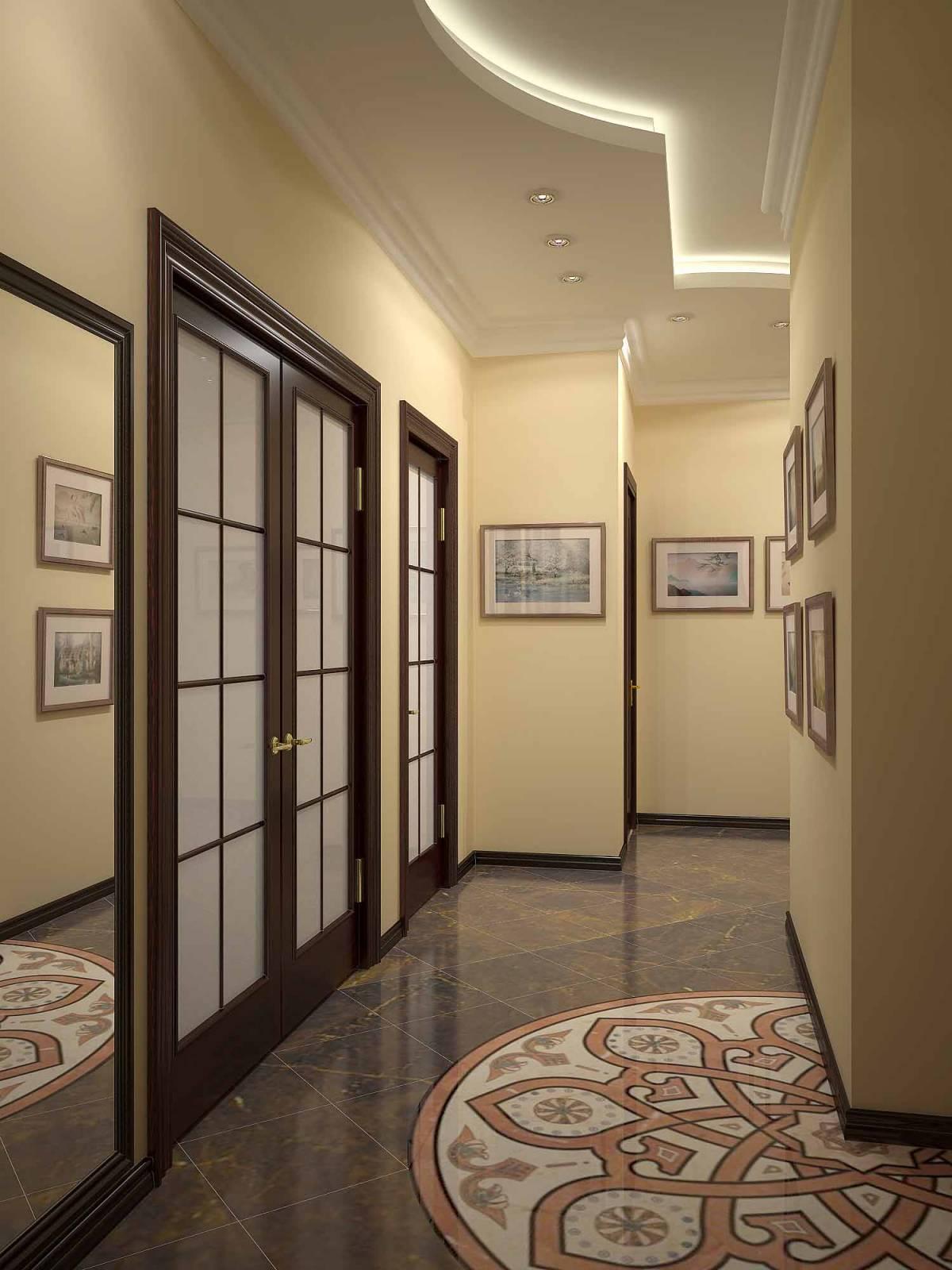 Точечные светильники и подсветка в двухуровневом потолке в коридоре
