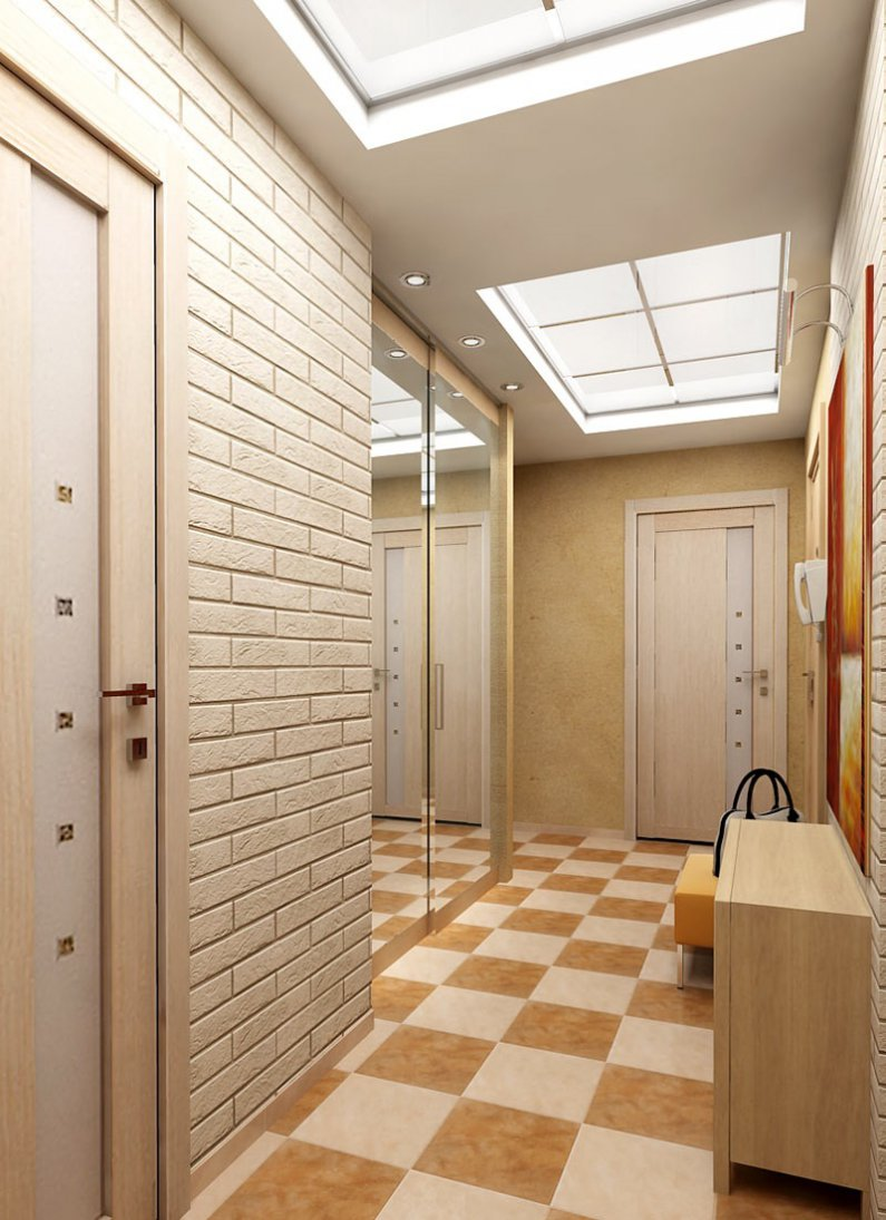 Точечные светильники и встроенные стеклянные панели в коридоре