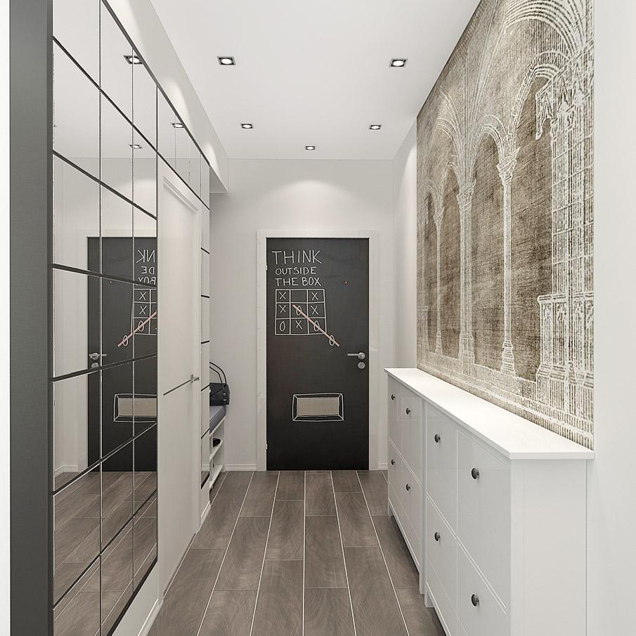 Точечные светильники в черно-белом коридоре