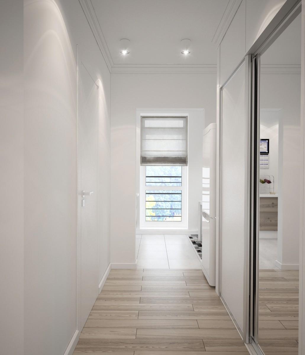 Точечные светильники в коричнево-белом коридоре