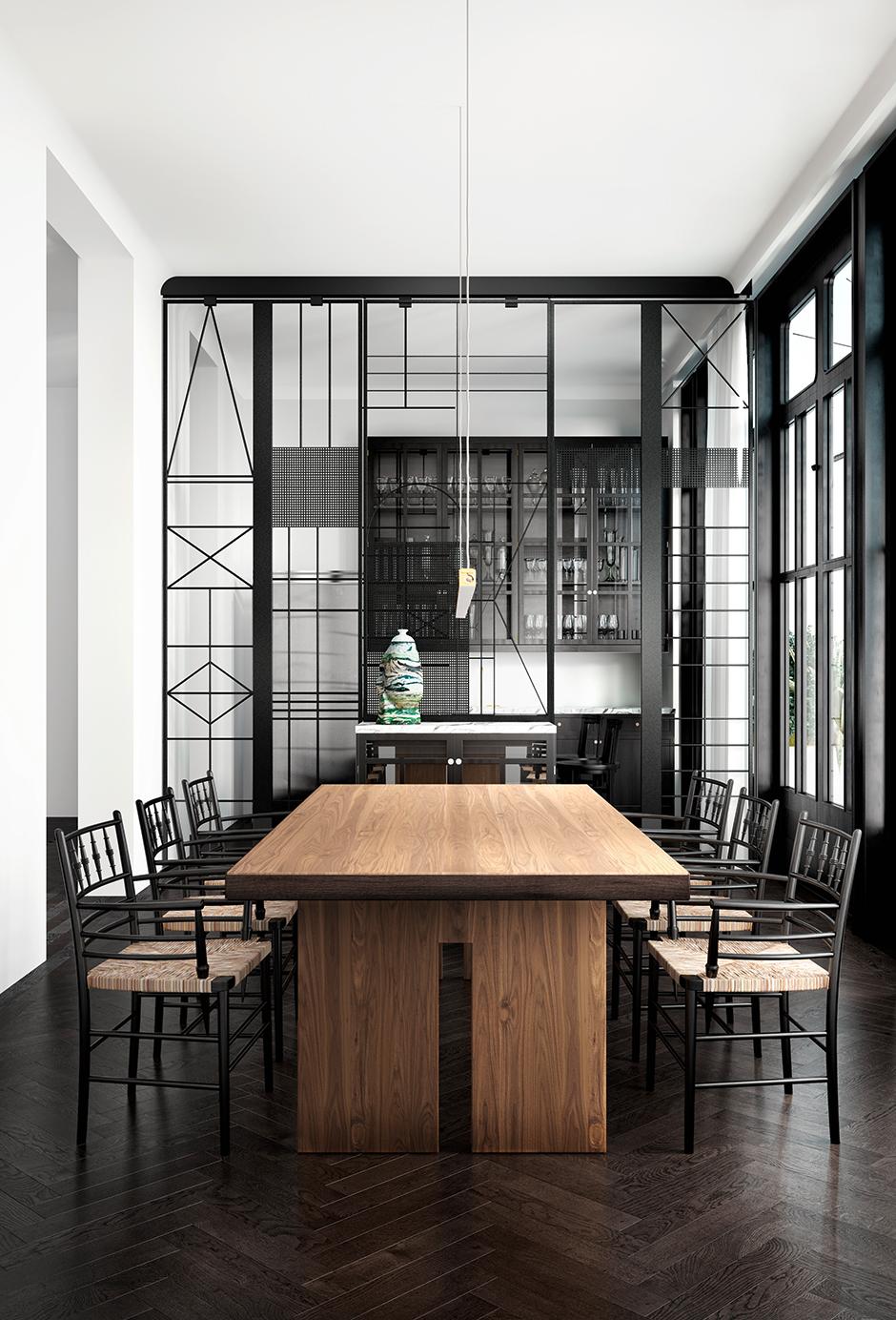 Стеклянная перегородка в интерьере современной кухни