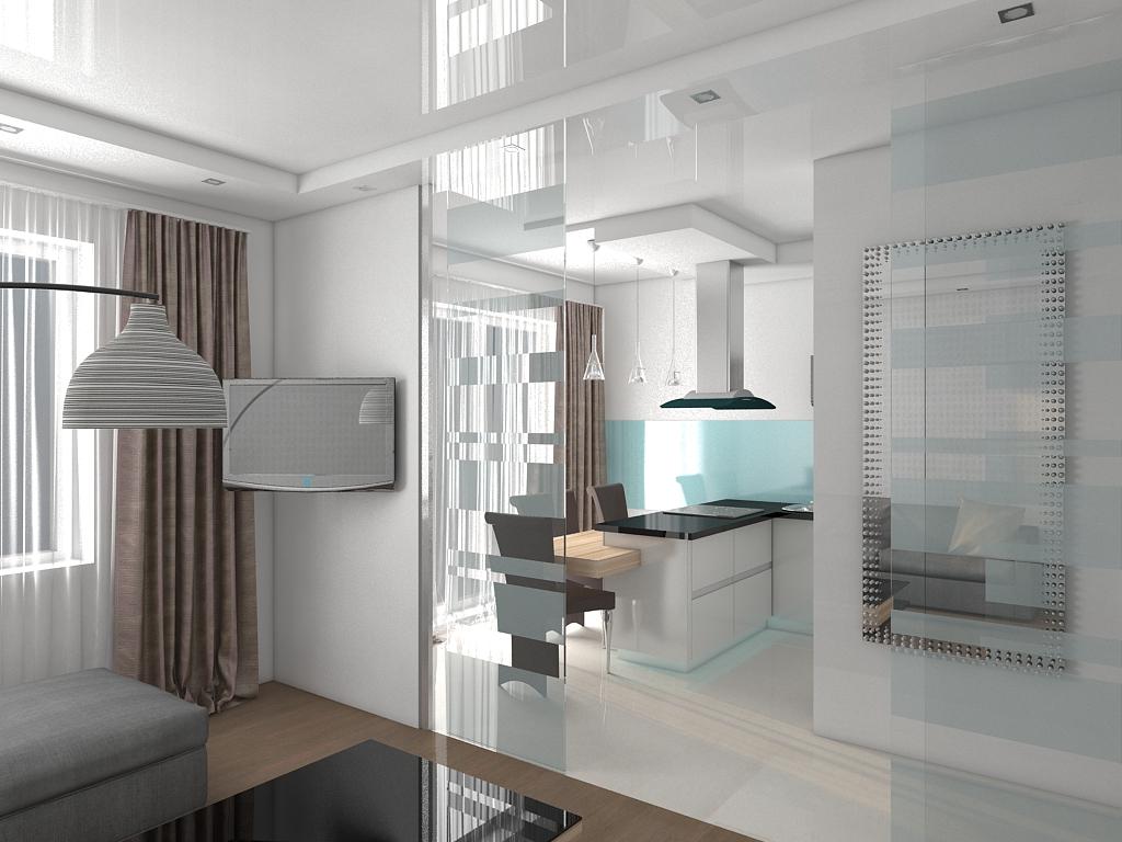 Перегородка из стекла в интерьере квартиры