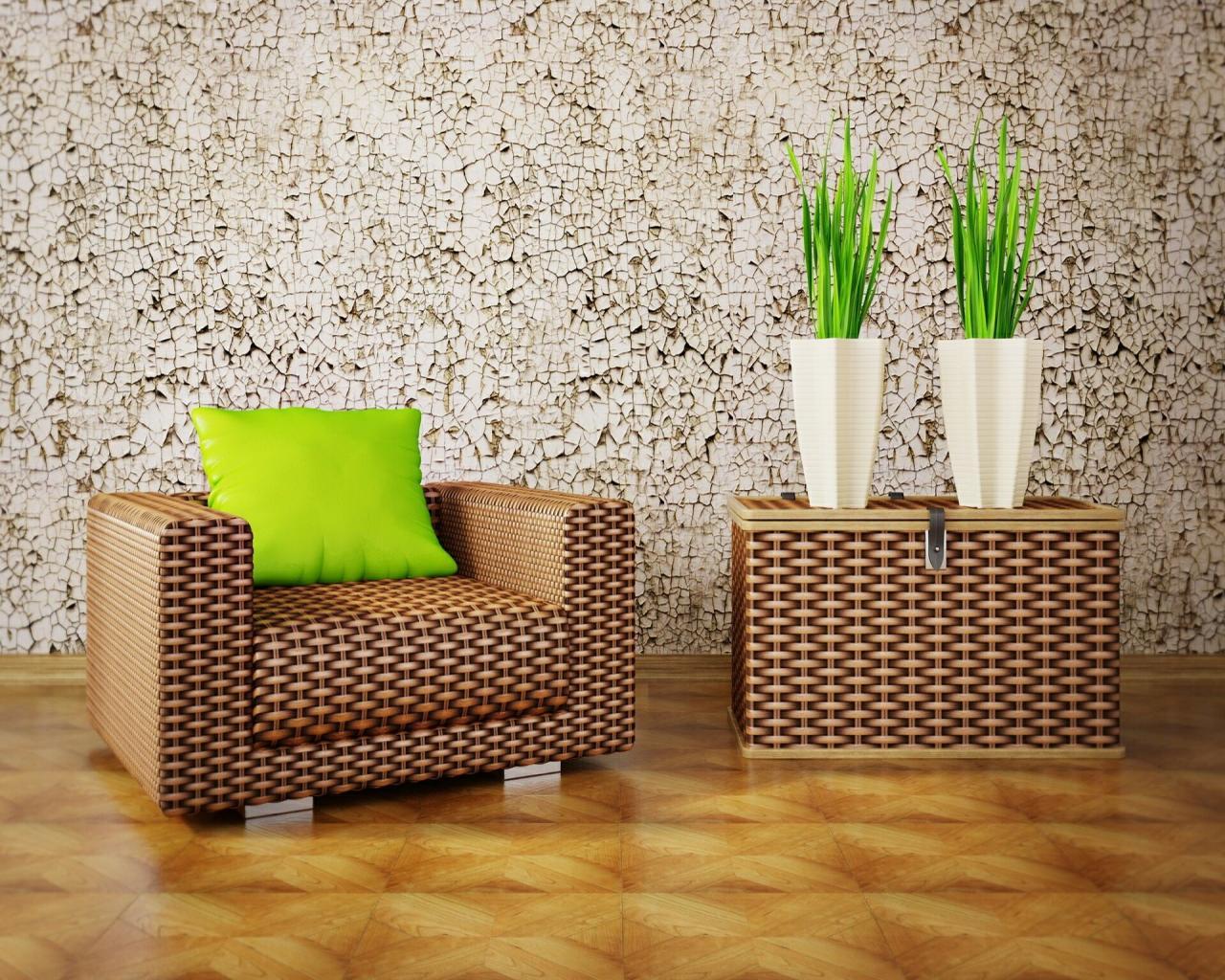 Плетеное кресло и сундук в интерьере