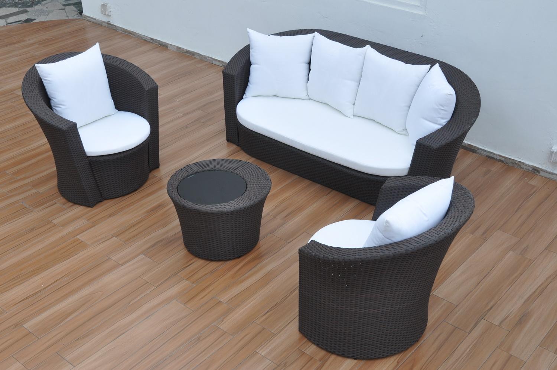 Черный плетеный диван, стол и кресла
