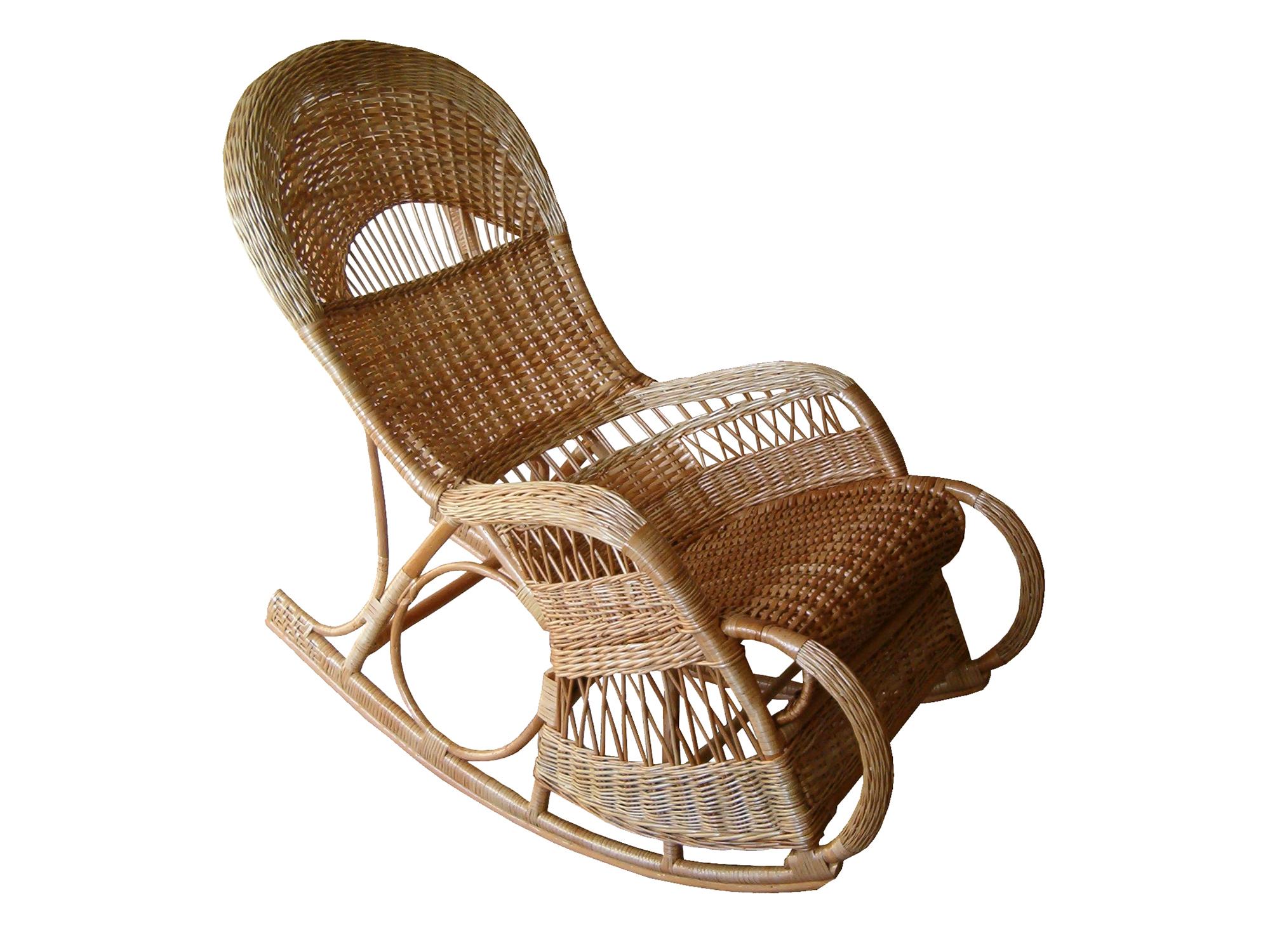 Светлое плетеное кресло-качалка