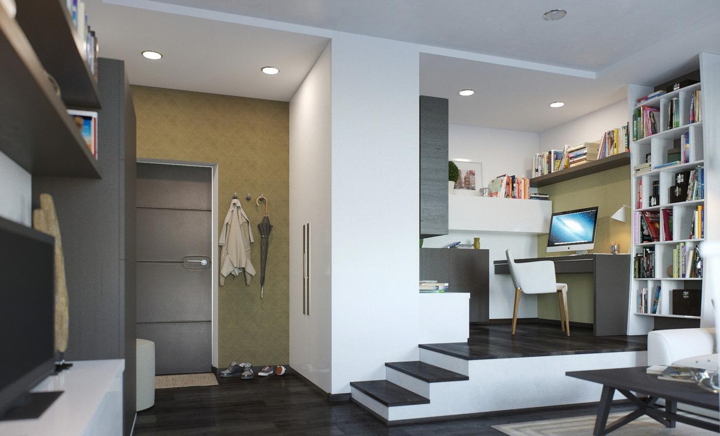 Подиум с рабочим местом в интерьере гостиной