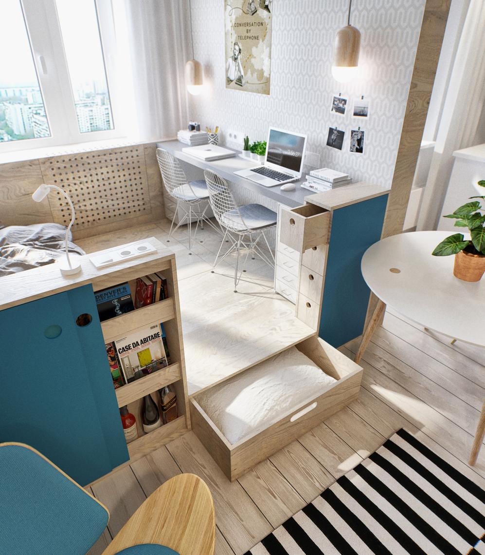 Подиум со спальным и рабочим местом в гостиной