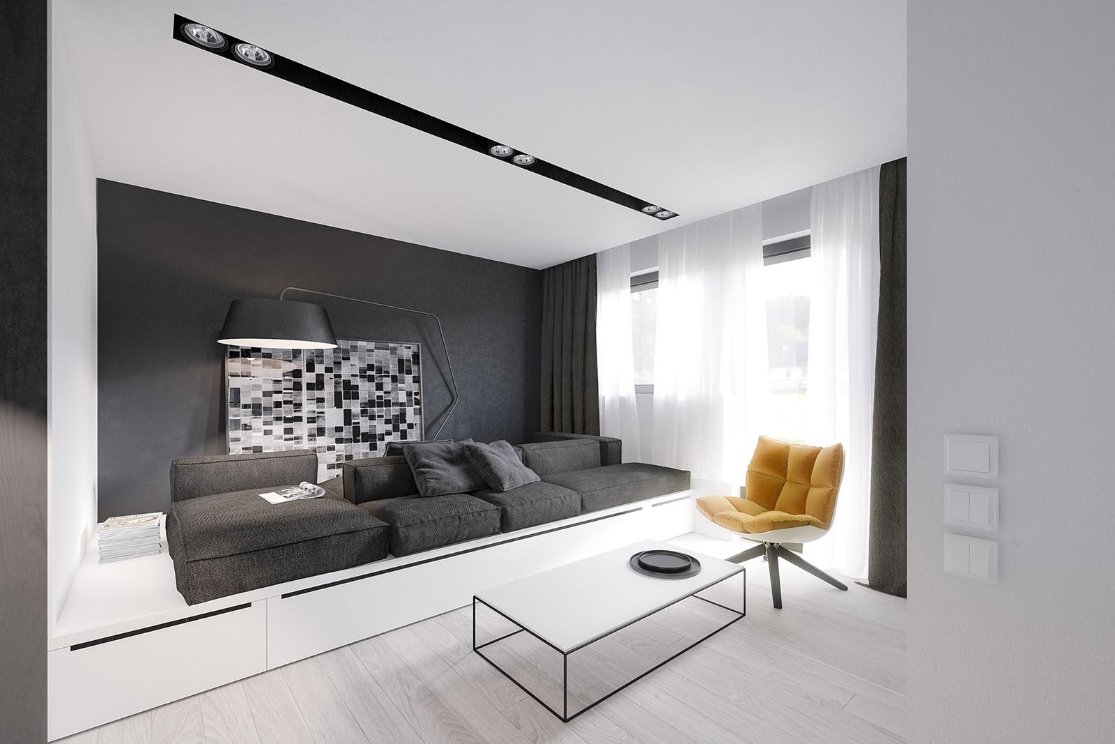 Белый подиум в гостиной