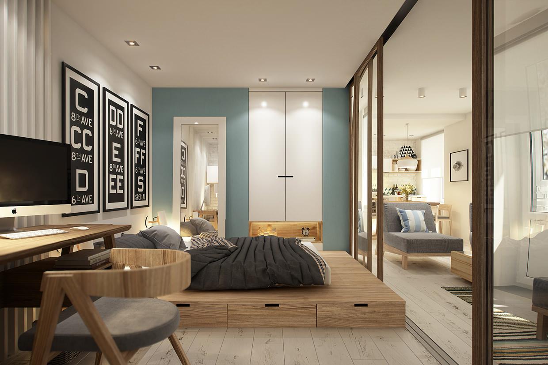 Спальня со шкафом-купе с подиумом