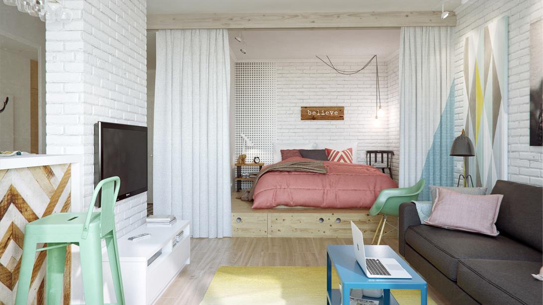Спальня с ширмой с подиумом