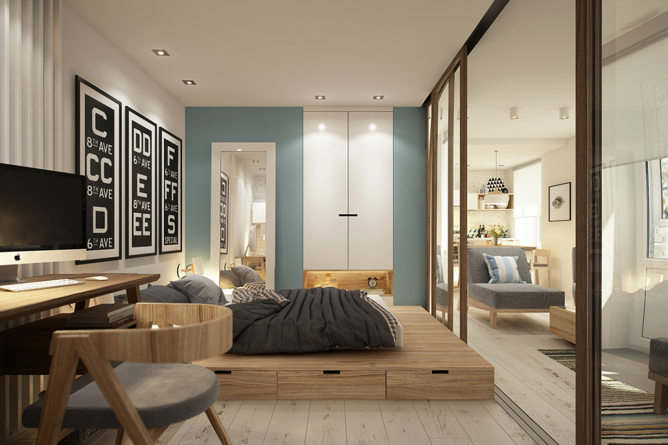 Подиум в спальне с большим зеркальным шкафом