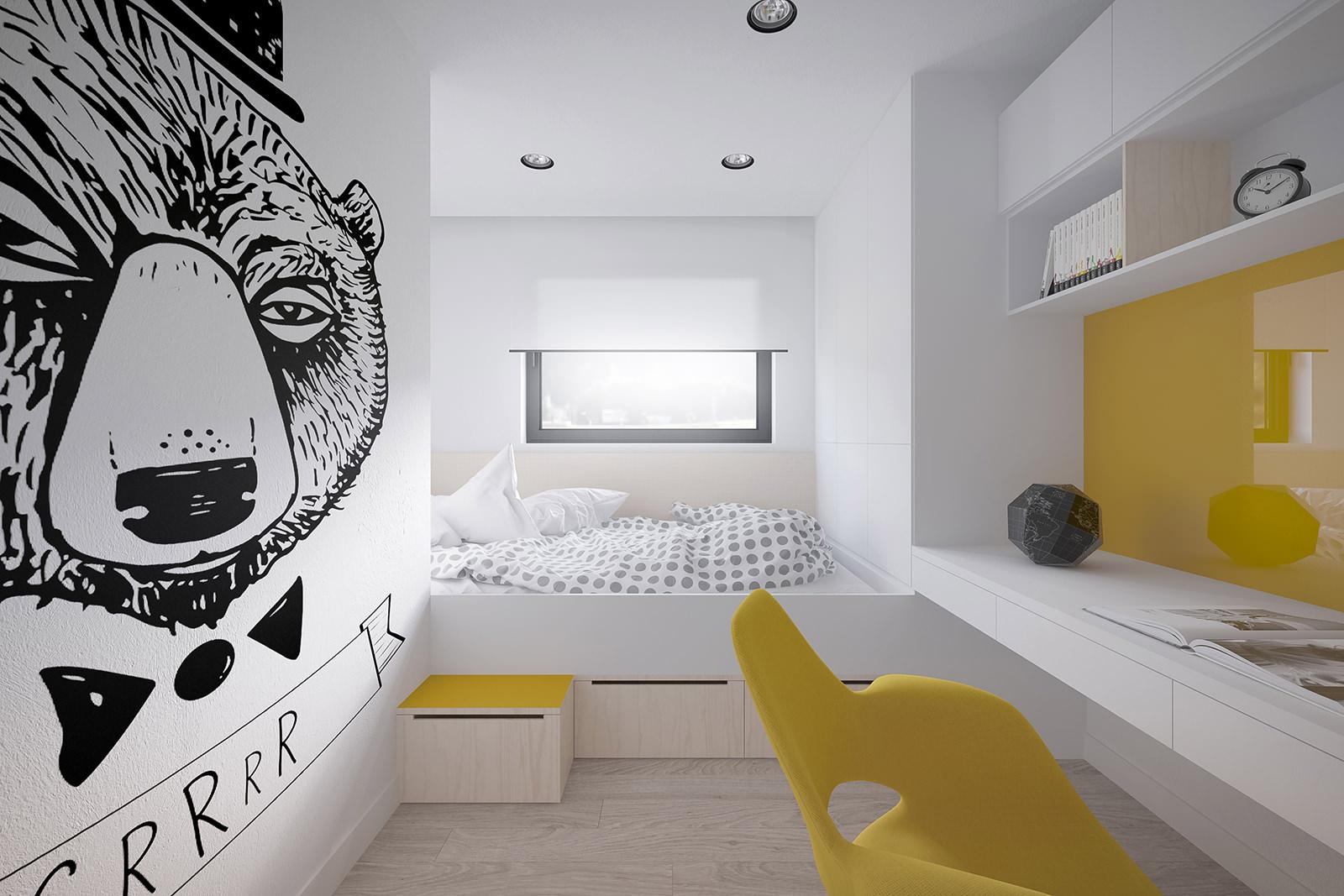 Удобный подиум в комнате подростка