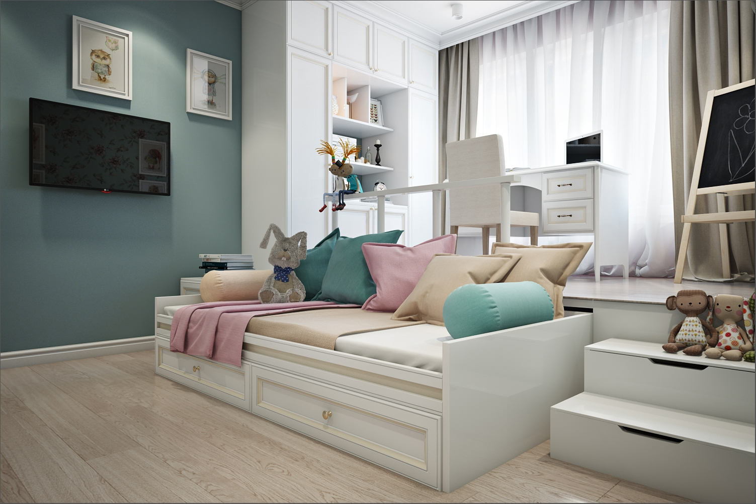Подиум в детской с выдвижной кроватью