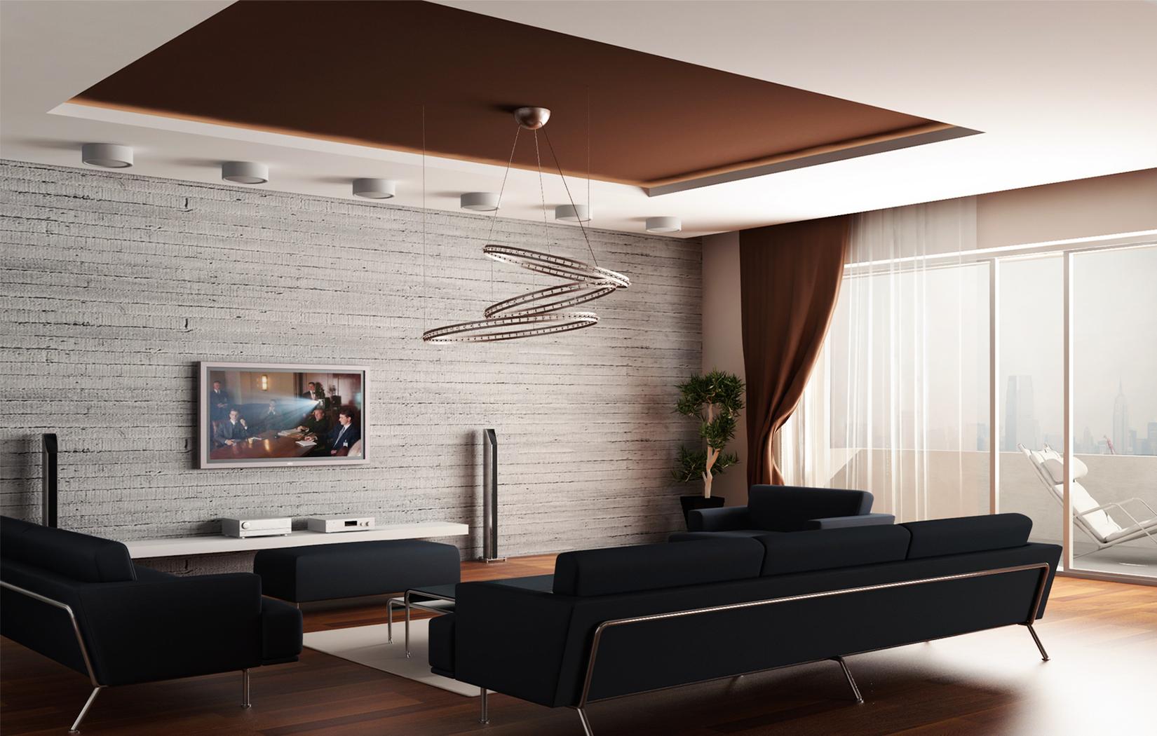 Бело-коричневый тканевый потолок в гостиной