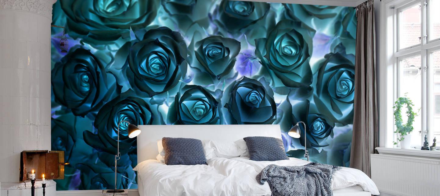 Необычные фотообои с розами в спальне