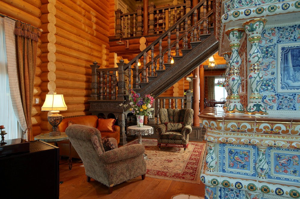 Резные лестницы в доме в русском стиле