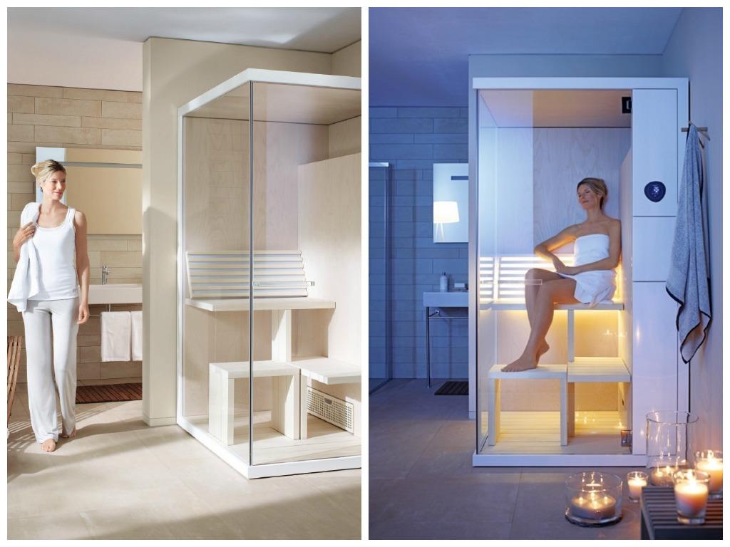 Сауна со стеклянными дверями в ванной